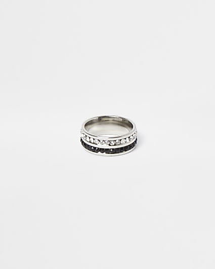 Silver stainless steel crystal band ring