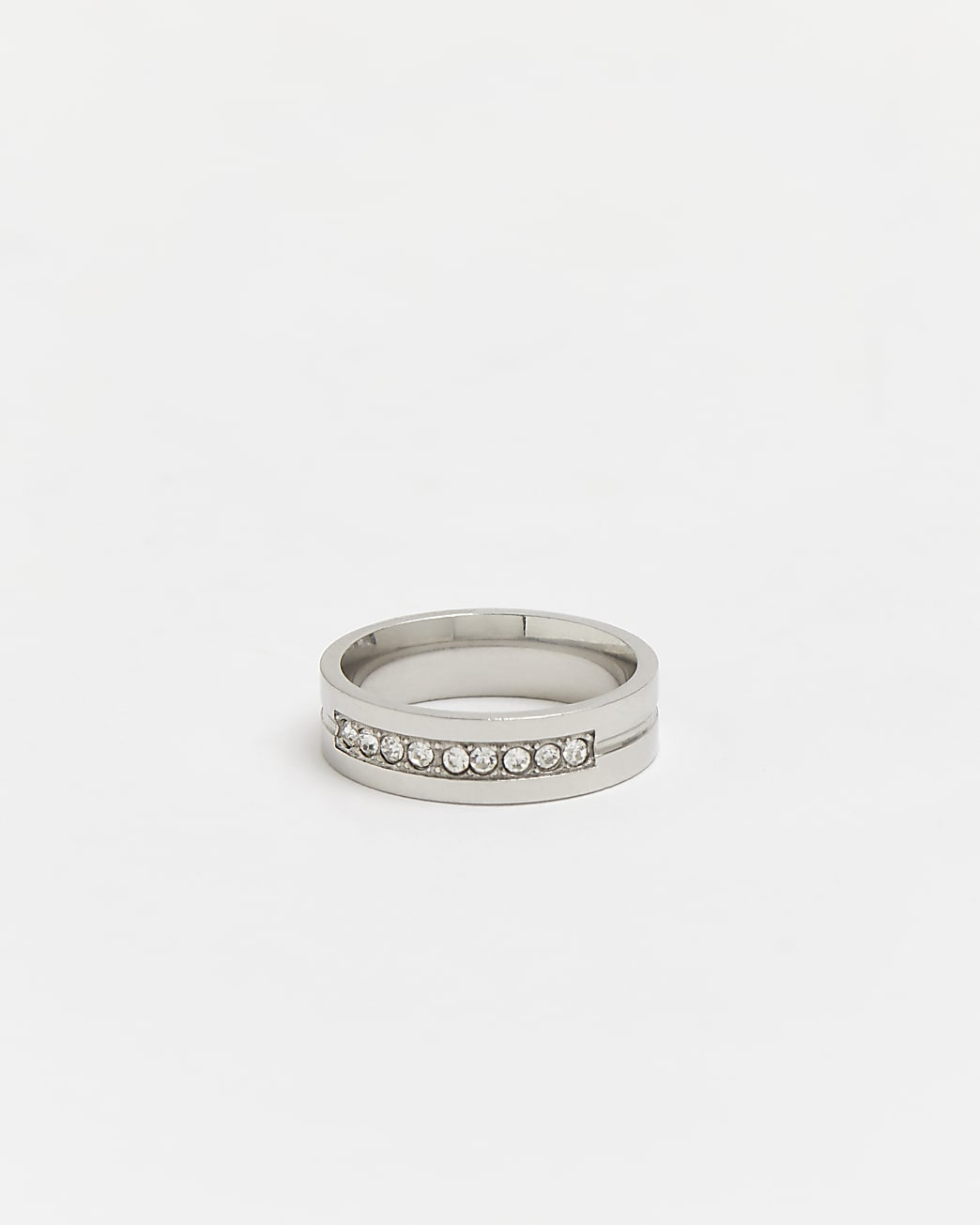 Silver stainless steel diamante band ring