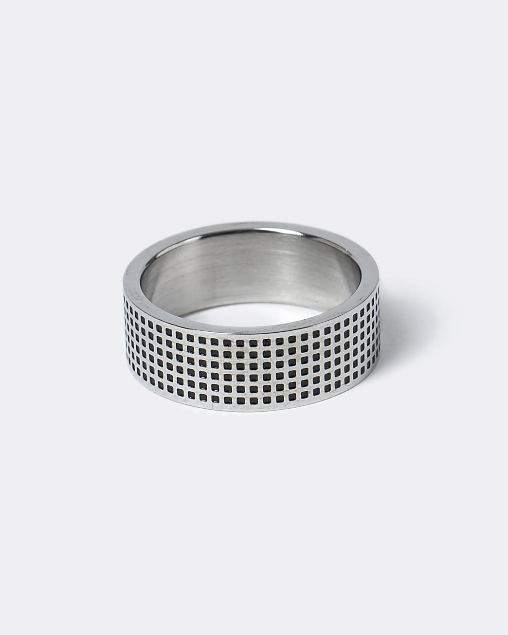 Silver stainless steel engraved band ring