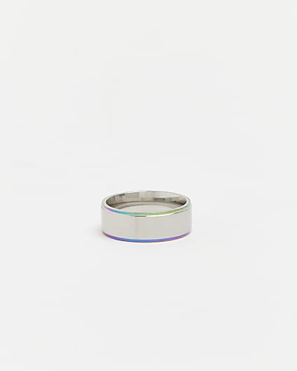 Silver stainless steel iridescent band ring