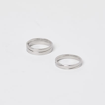 Silver stainless steel rings 2 pack