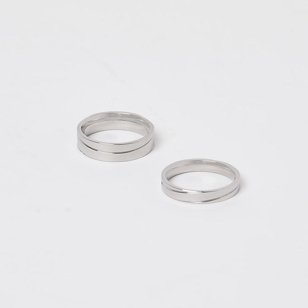 Silver stainless steel rings 2 pack