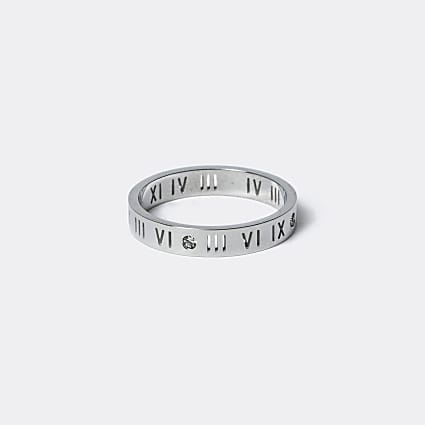 Silver stainless steel roman numeral ring