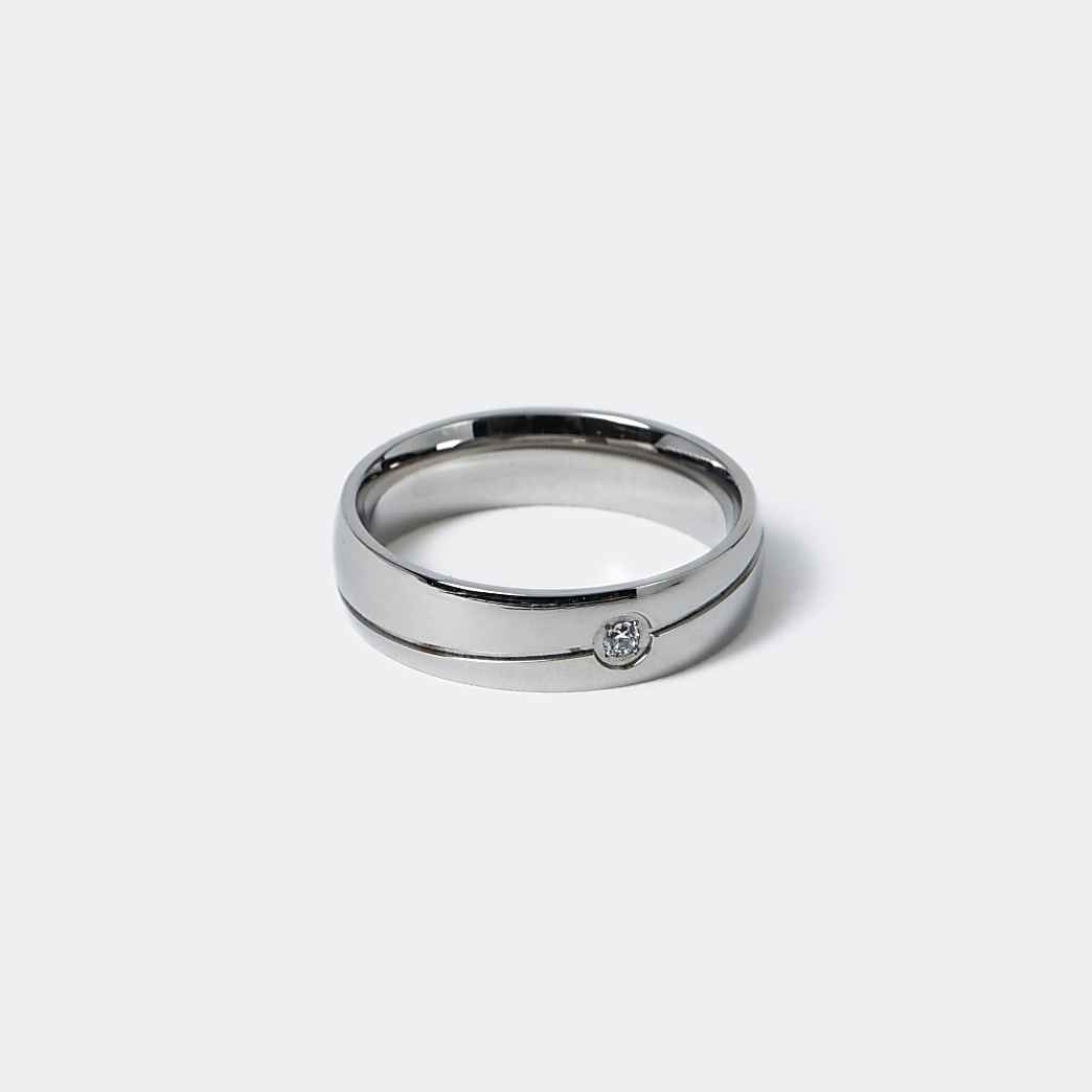 Silver steel band ring