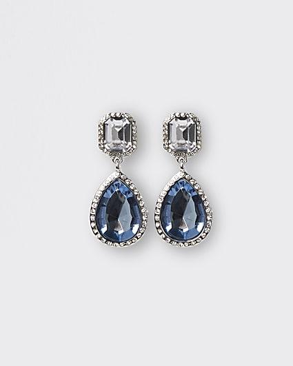 Silver stone embellished drop earrings