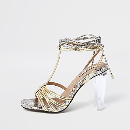 Silver strappy perspex heel sandal