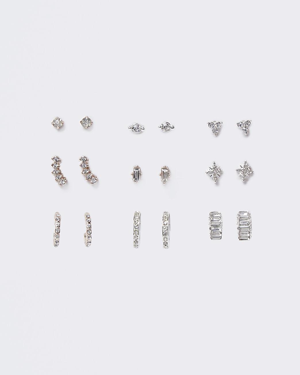 Silver stud and hoop earring multipack