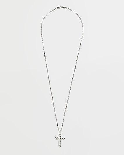 Silver studded cross pendant necklace