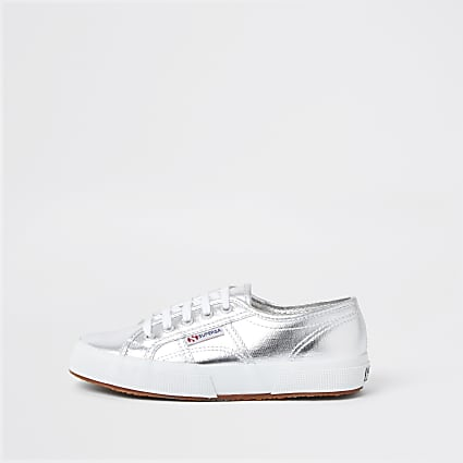 Silver Superga classic runner trainers