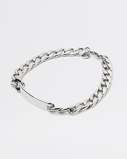 Silver tag chain bracelet
