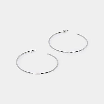 Silver thin hoop earrings