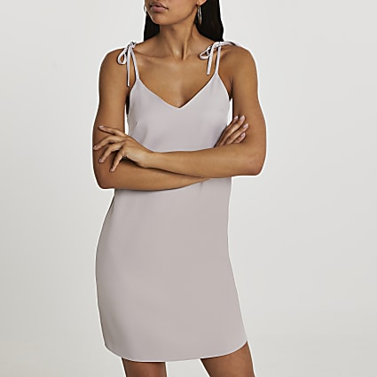 Silver tie strap mini slip dress