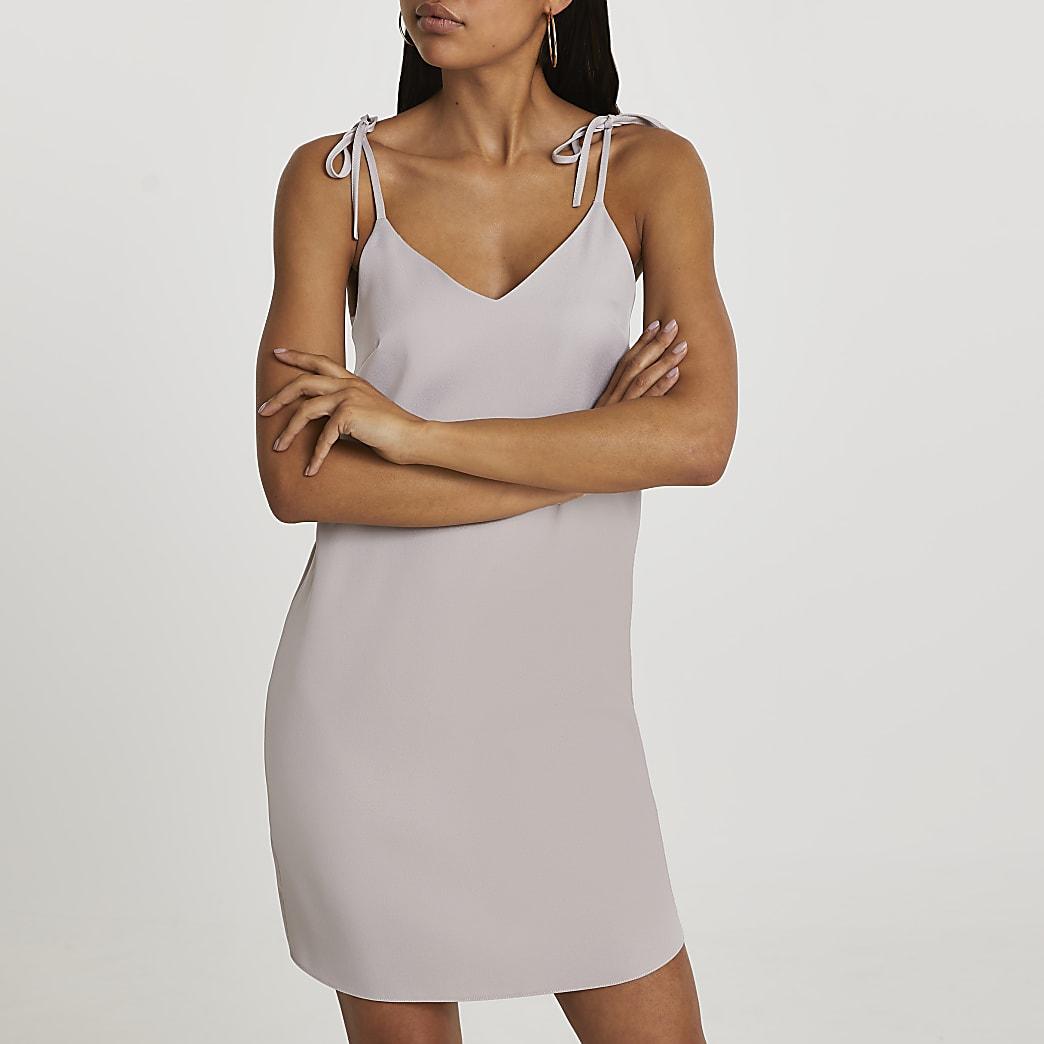 Silver tie strap mini slip dress