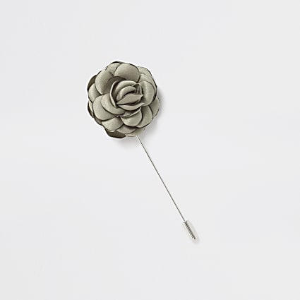 Silver tone green rose lapel pin