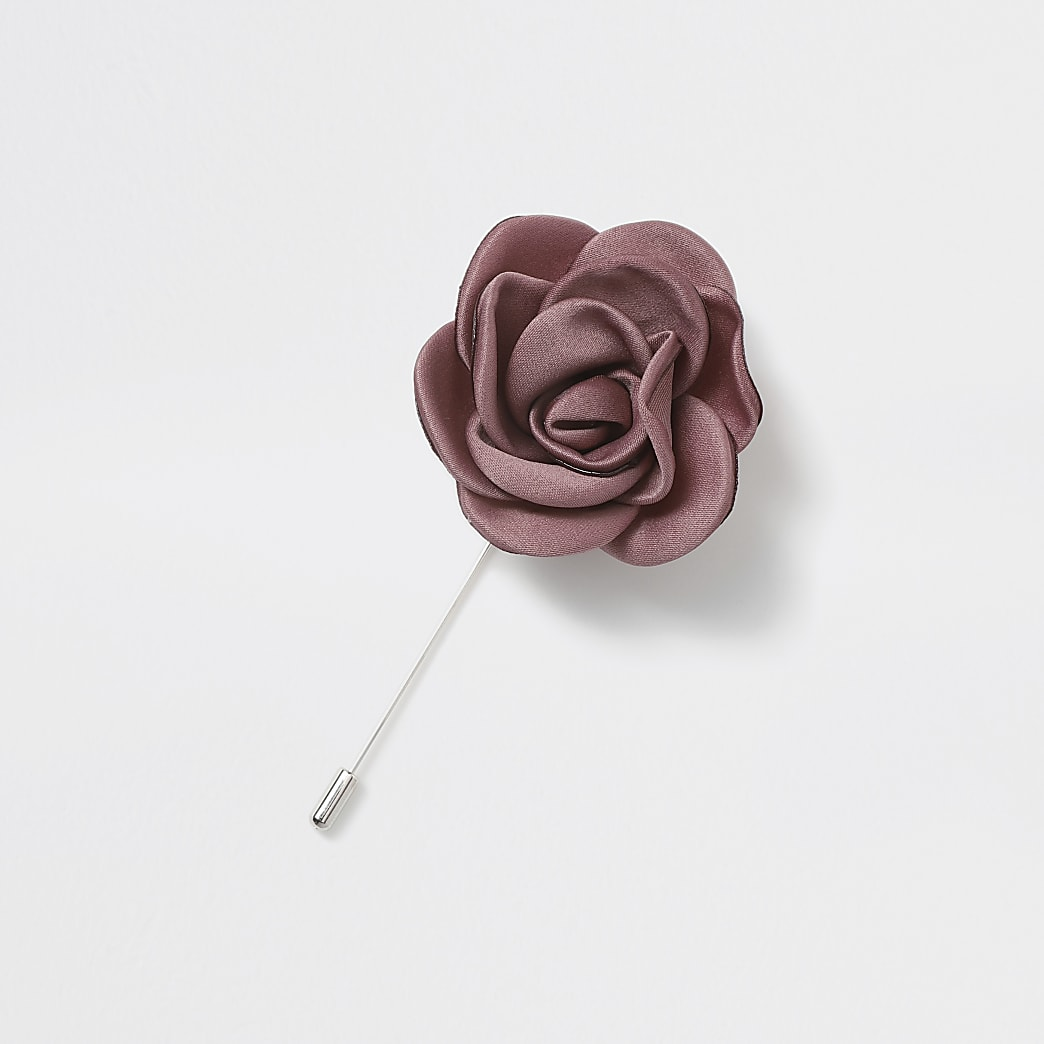 Silver tone pink rose lapel pin