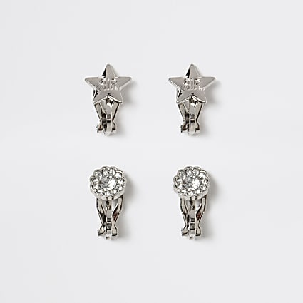 Silver tone star clip on earrings 2 pack