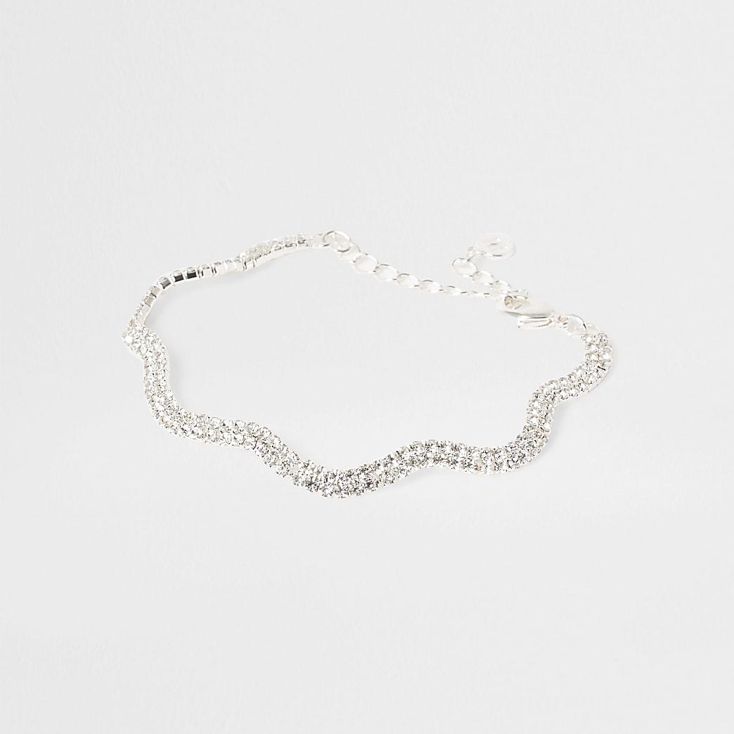 Silver tone wavy diamante bracelet