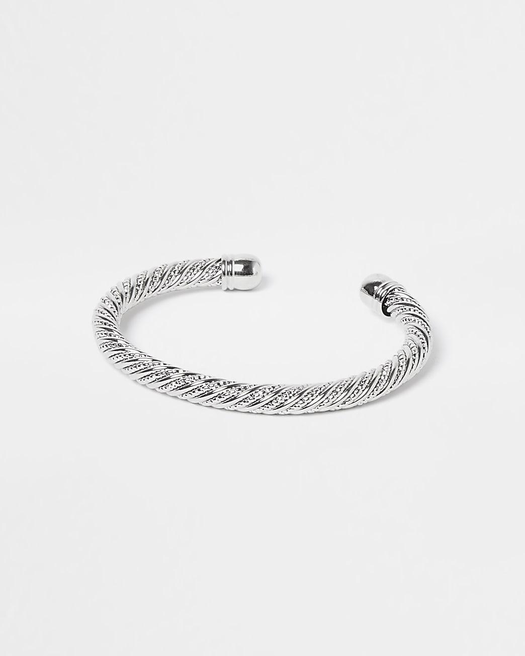 Silver twist cuff bracelet