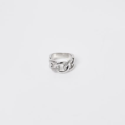 Silver twisted chain ring