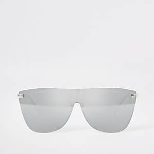 Zilverkleurige zonnebril in visor-stijl