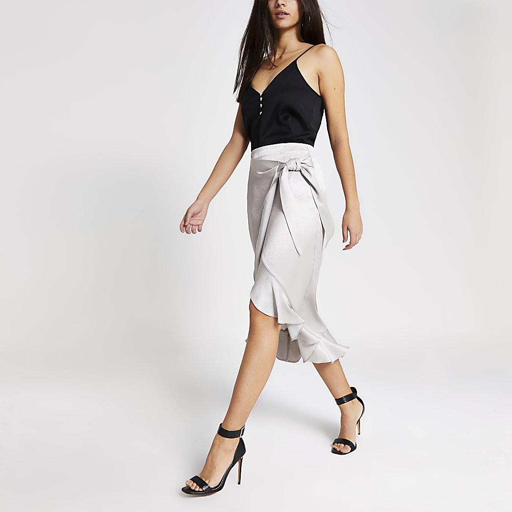 Silver wrap frill midi skirt