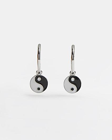 Silver yin and yang hoop earrings