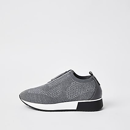 Silver zip front runner trainers
