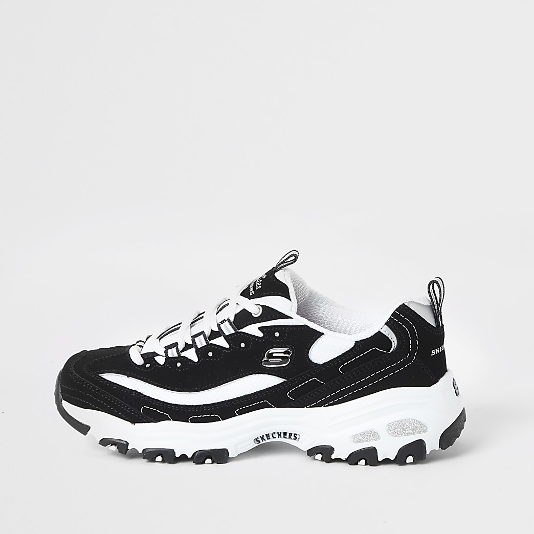Skechers black D'Lite Biggest Fan trainers