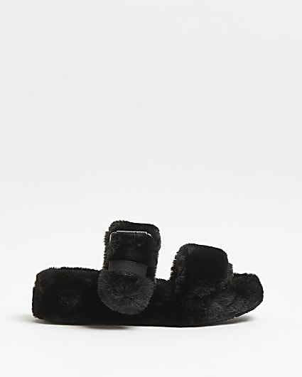 Skechers black faux fur flatform slippers