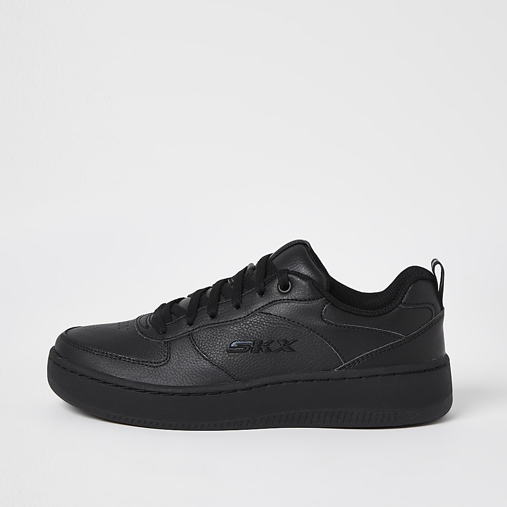 Skechers black lace up court trainers