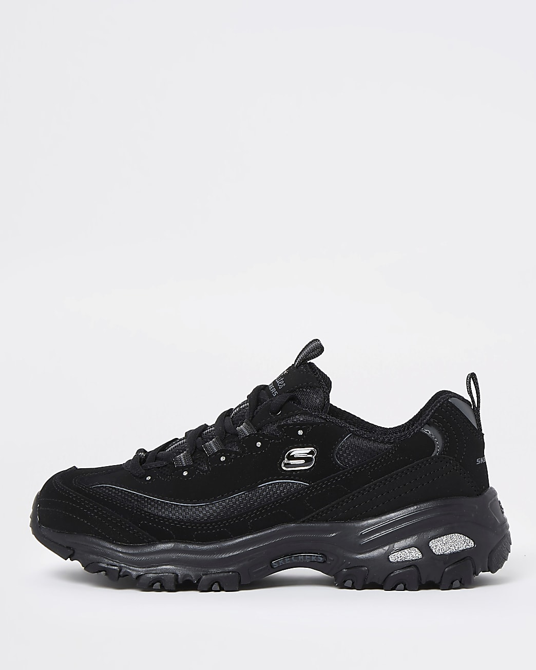 Skechers black lace up trainers