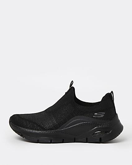 Skechers black slip on trainers