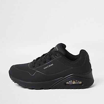 Skechers black uno air trainers