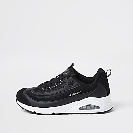 Skechers black uno roundabout trainer