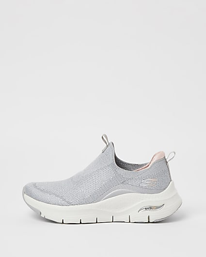 Skechers grey slip on trainers