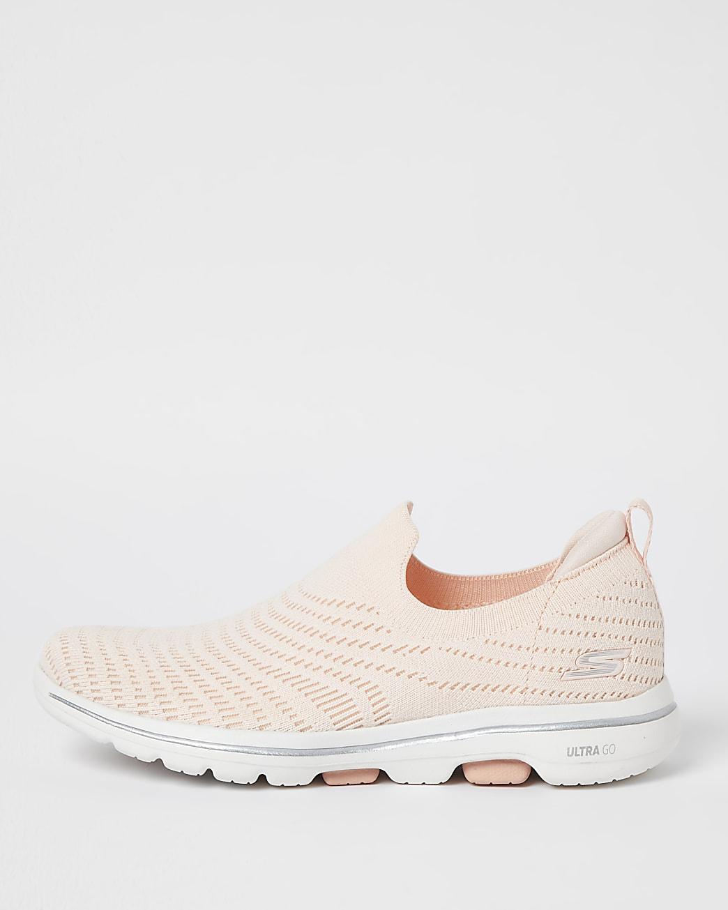 Skechers pink slip on trainers