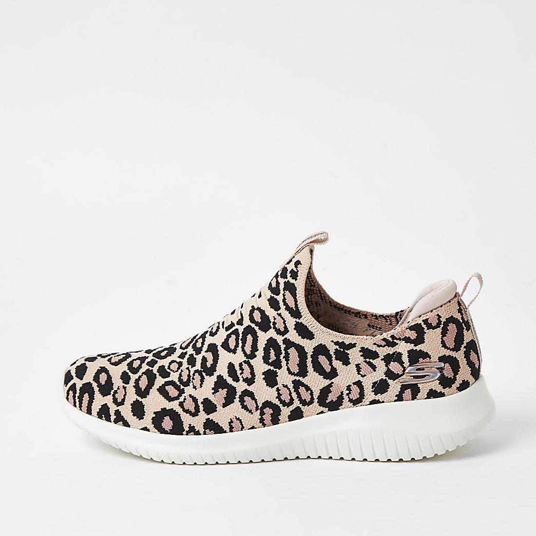 Skechers pink ultra flex leopard trainer