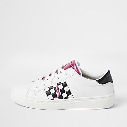 Skechers white check print lace up trainers