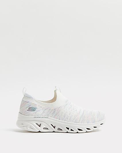 Skechers white glide step trainers