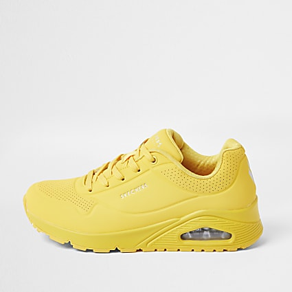 Skechers yellow lace up trainers