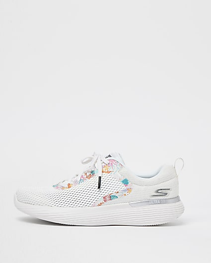 Sketchers white mesh lace up trainers