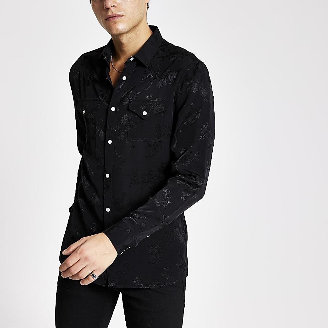 Smart Western - Zwart slim-fit overhemd met bloemenprint