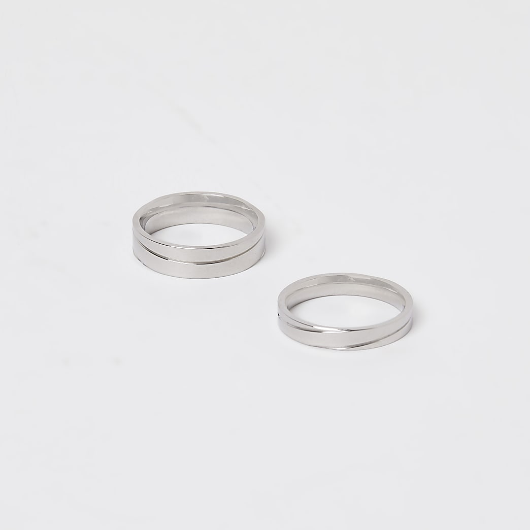 Stainless steel silver rings 2 pack