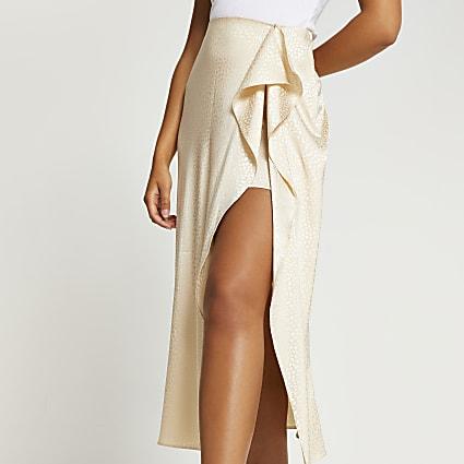 Stone animal print front slip skirt