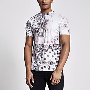Kiezelkleurig tie-dye T-shirt met bandana-print