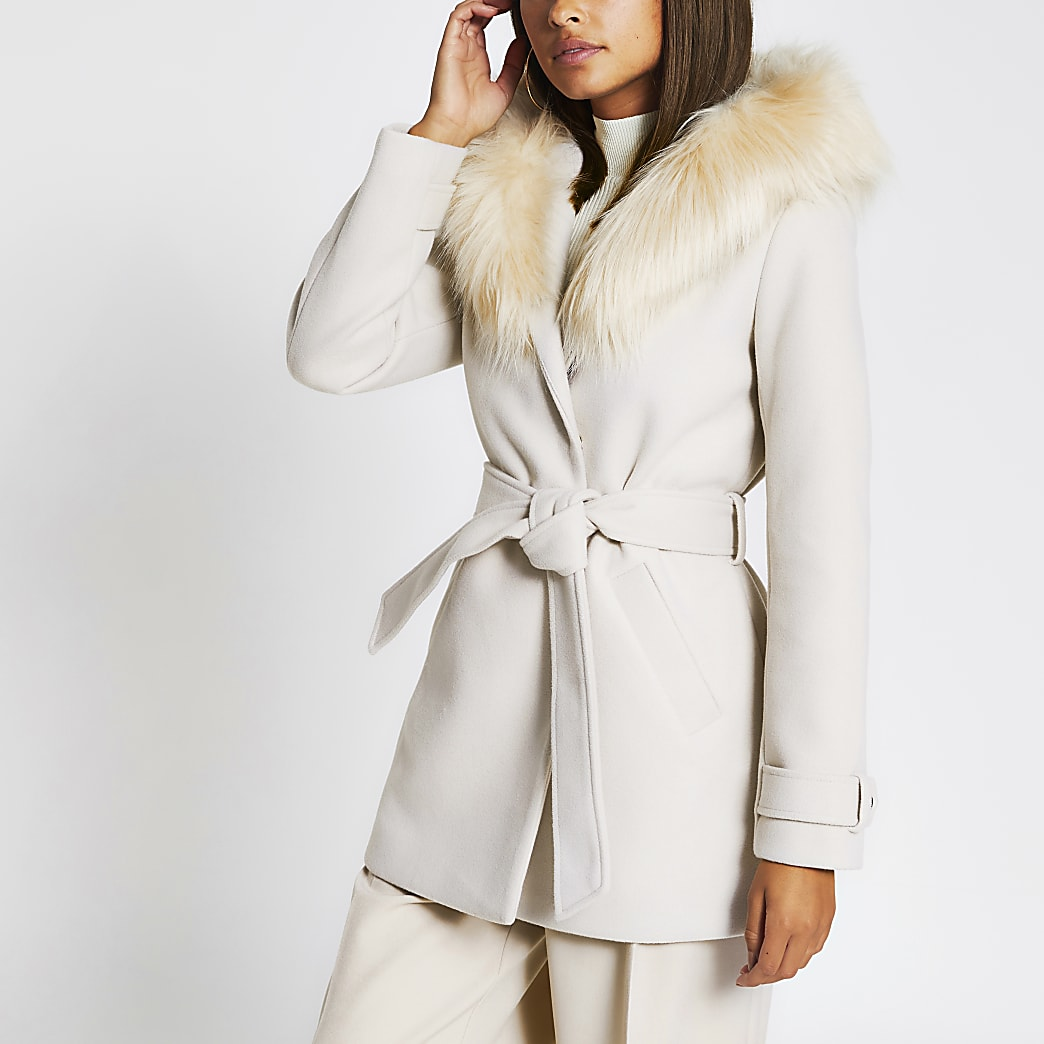 Stone belted faux fur hooded robe coat
