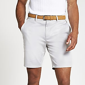 Stone belted slim fit chino shorts