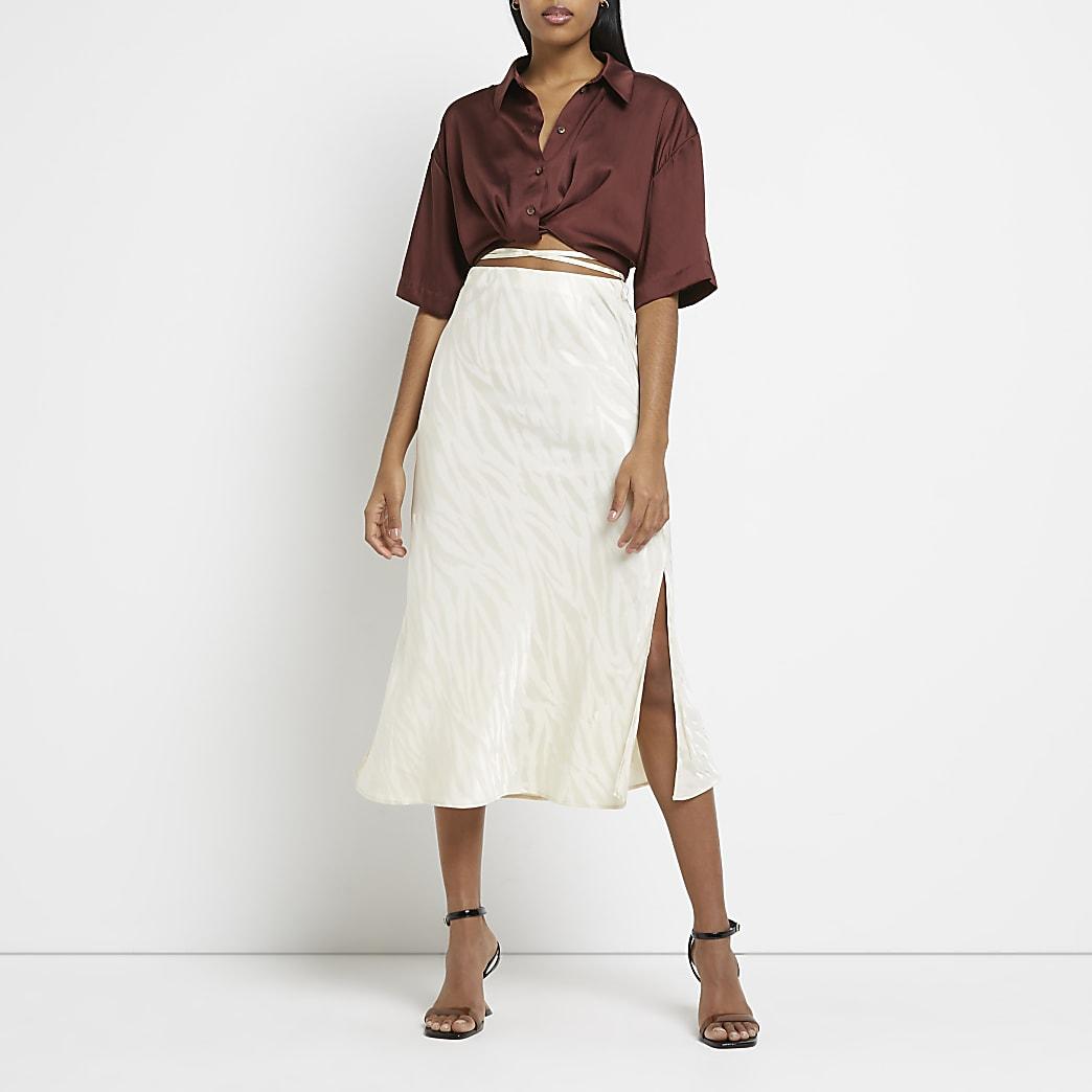 Stone bias tie waist maxi skirt
