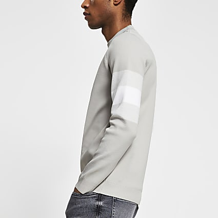 Stone blocked sleeve slim jumper