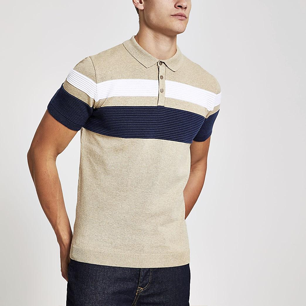 Stone blocked slim fit polo shirt